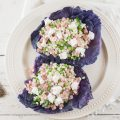 Red cabbage bowl with pearl couscous and goat's cheese