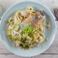 Tagliatelle with creamy pesto leeks and cod 120x120 - Creamy salmon and spinach tagliatelle