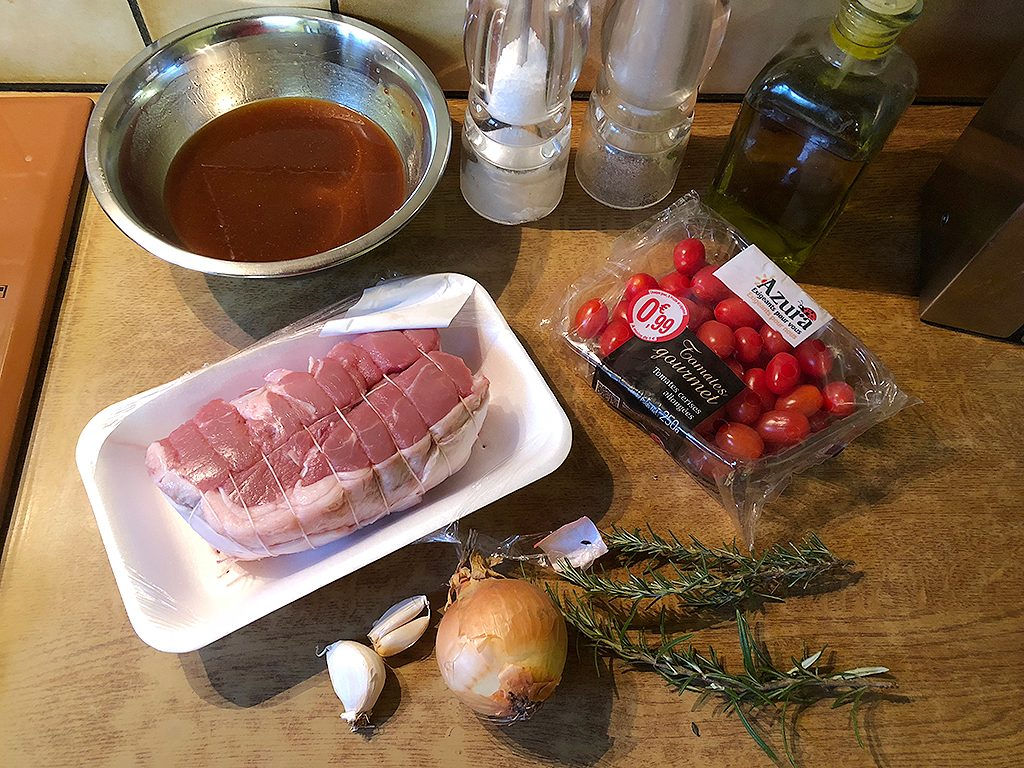 Veal roast with tomatoes and rosemary ingredients