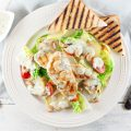 Chicken salad with pesto yogurt dressing