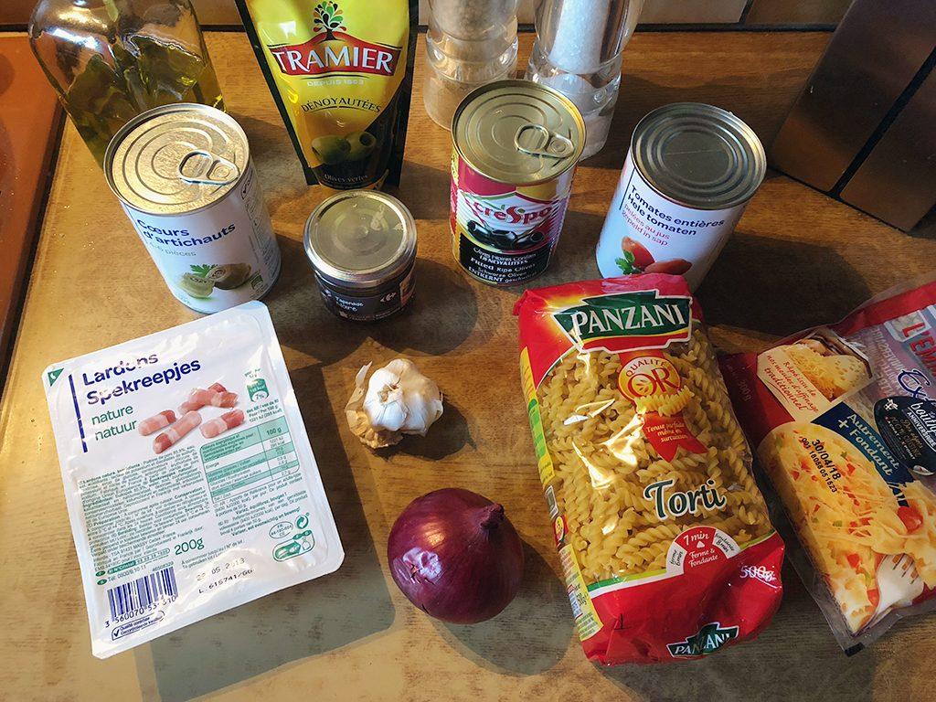 Artichoke and olive pasta ingredients