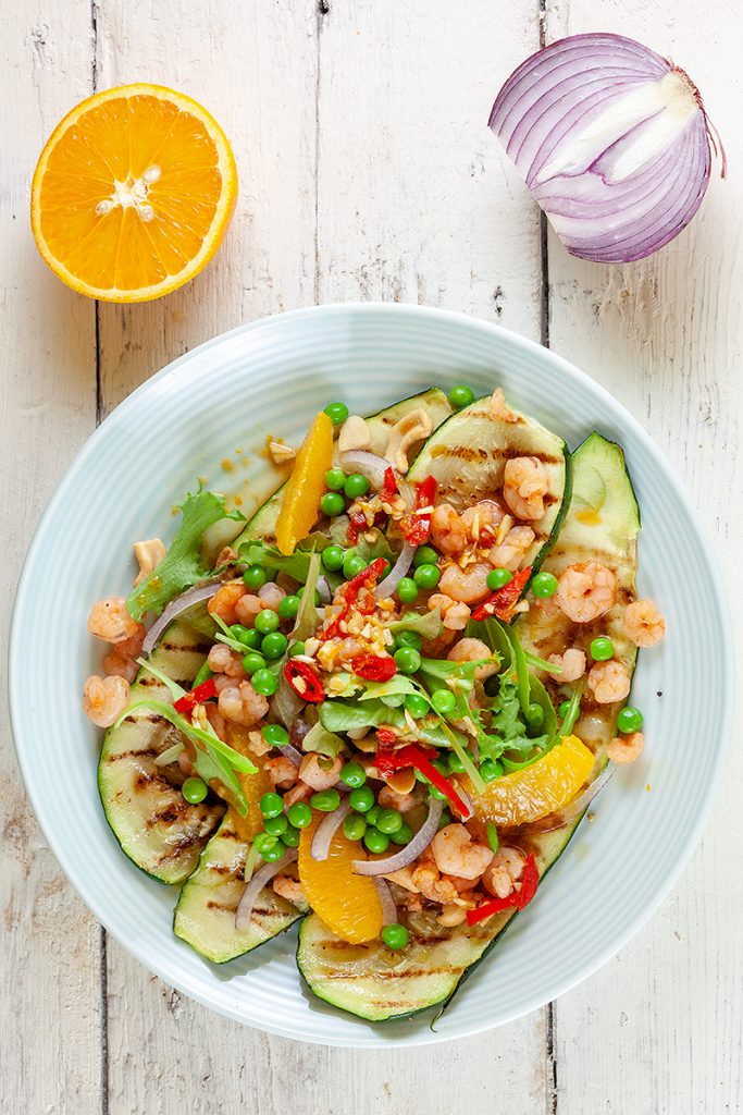 Zucchini and shrimp salad