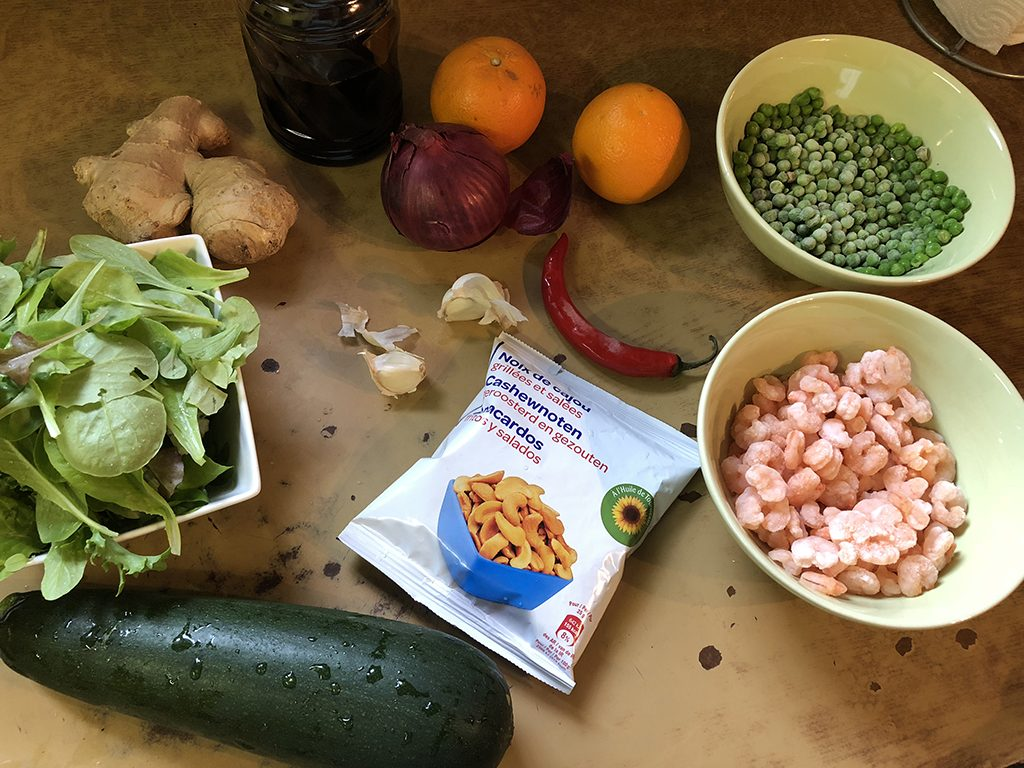 Zucchini and shrimp salad ingredients