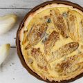 Chicory and blue cheese quiche 120x120 - Pear and blue cheese filo pastries
