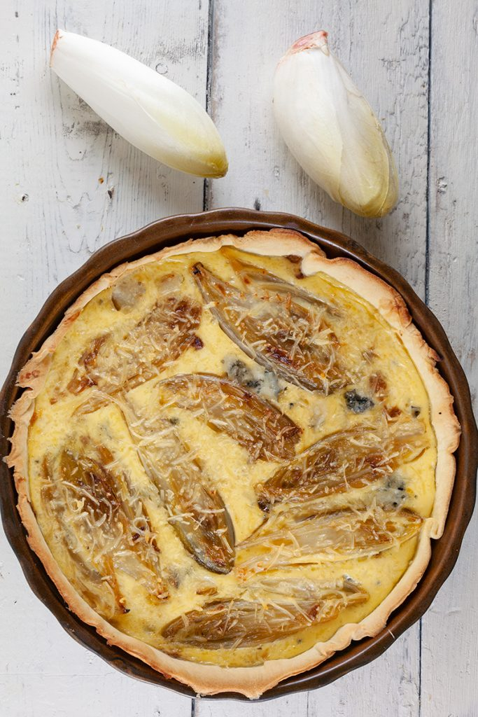 Chicory and blue cheese quiche