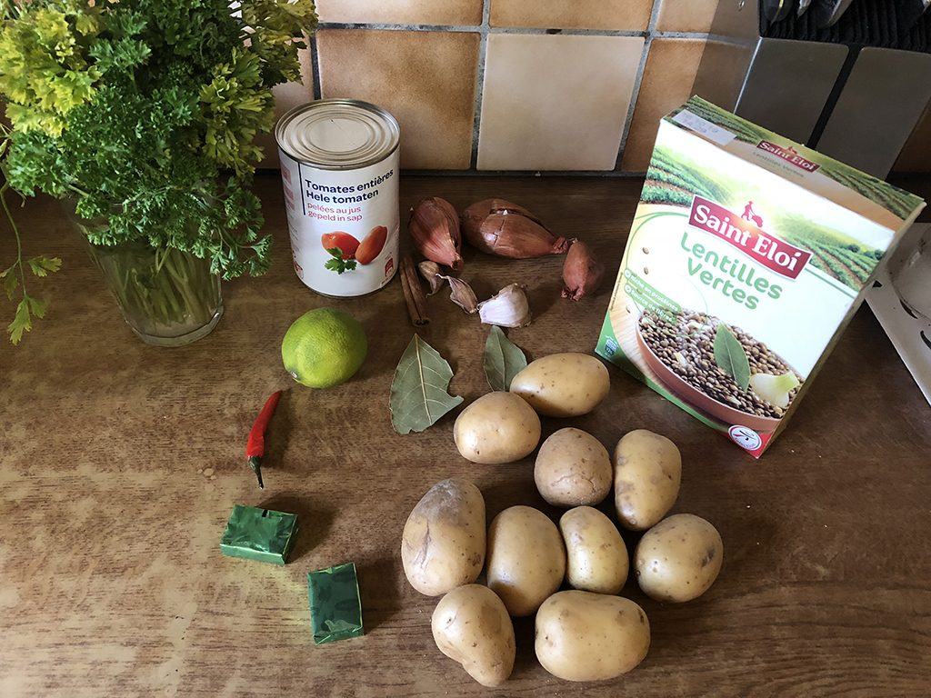 Lentil and potato soup ingredients