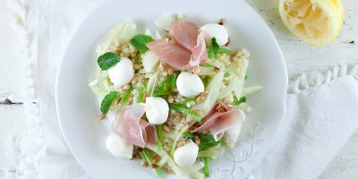 Pearl couscous mozzarella and fennel salad 400x200 - Homepage