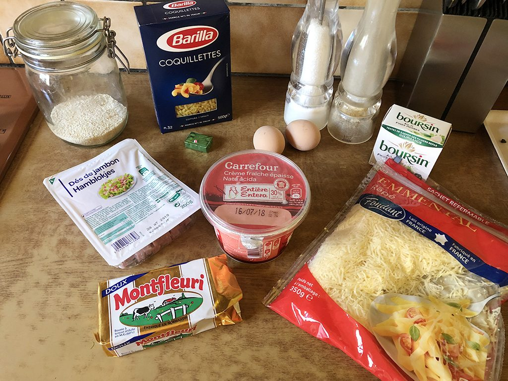 Macaroni and boursin gratin ingredients 1024x768 - Macaroni and boursin gratin