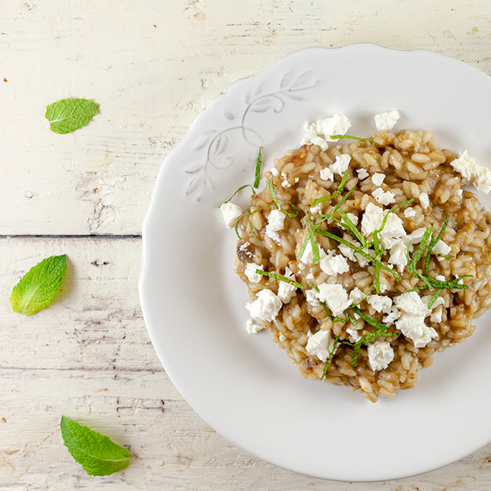 Eggplant and feta risotto square - Eggplant and feta risotto