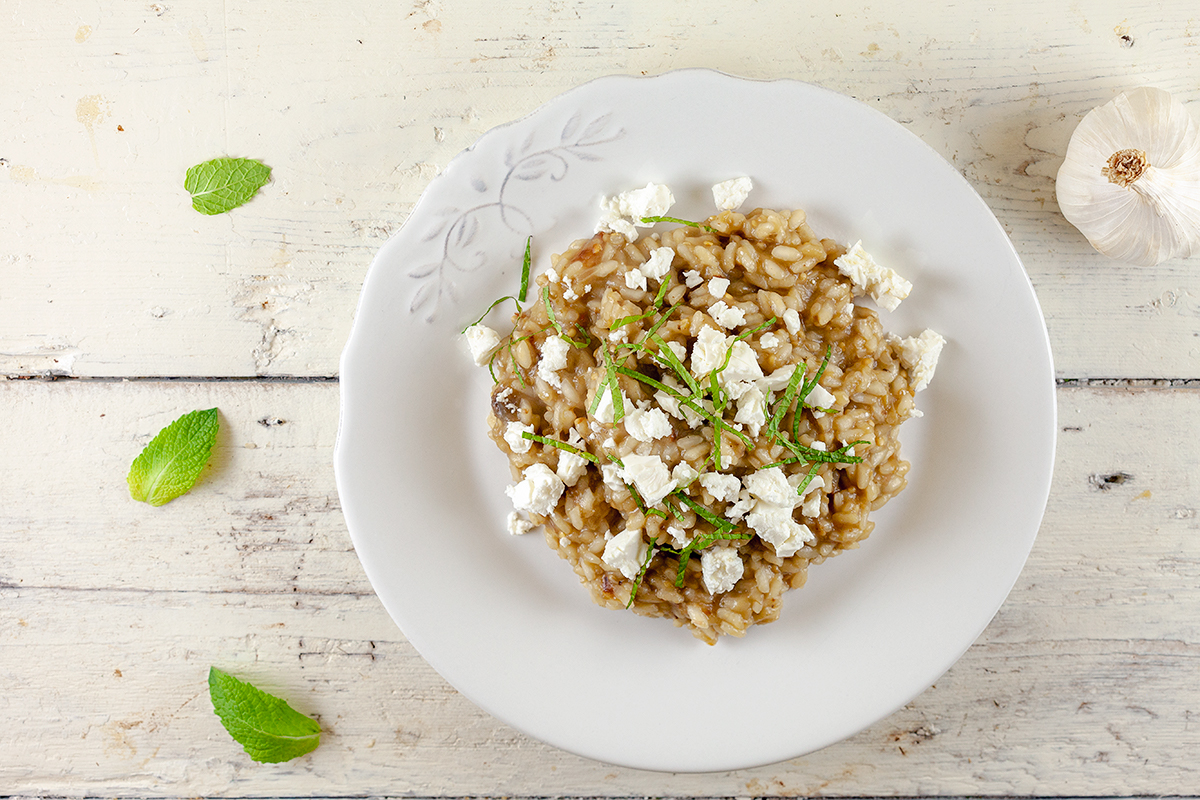 Eggplant and feta risotto