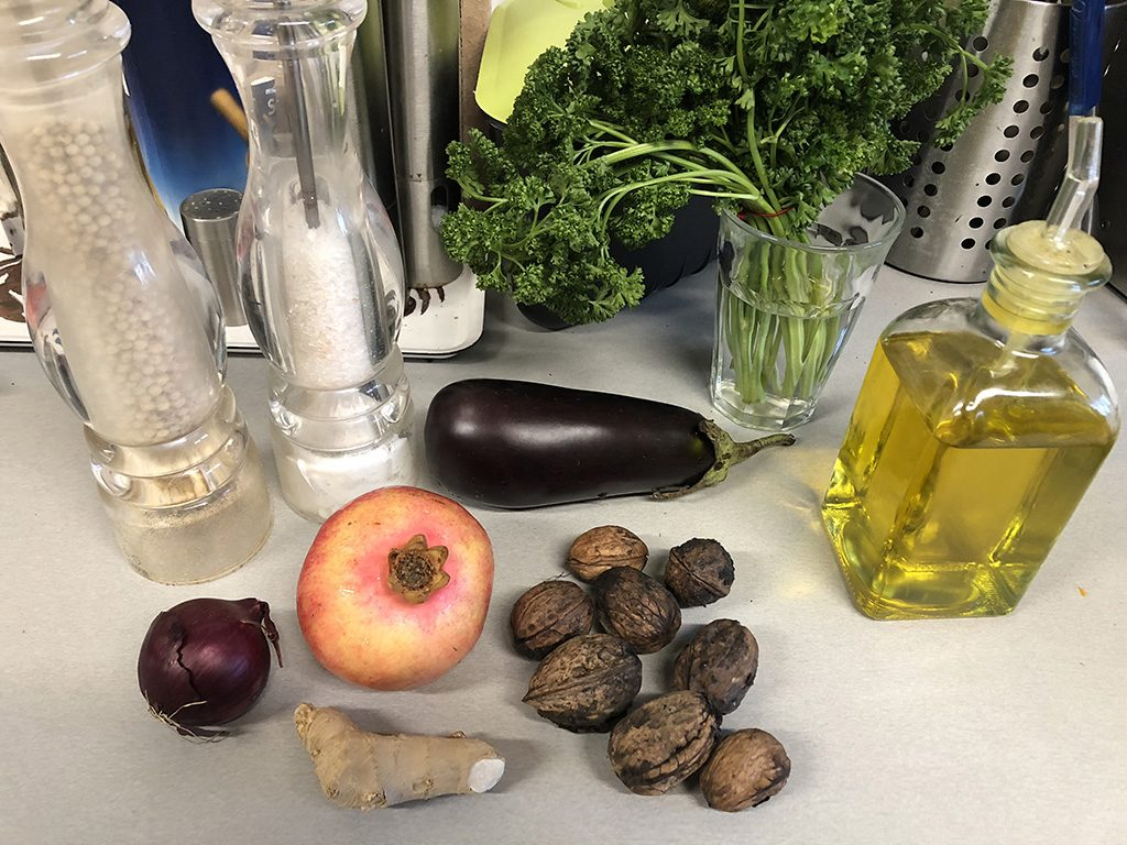 Pomegranate, eggplant and pearl couscous salad ingredients