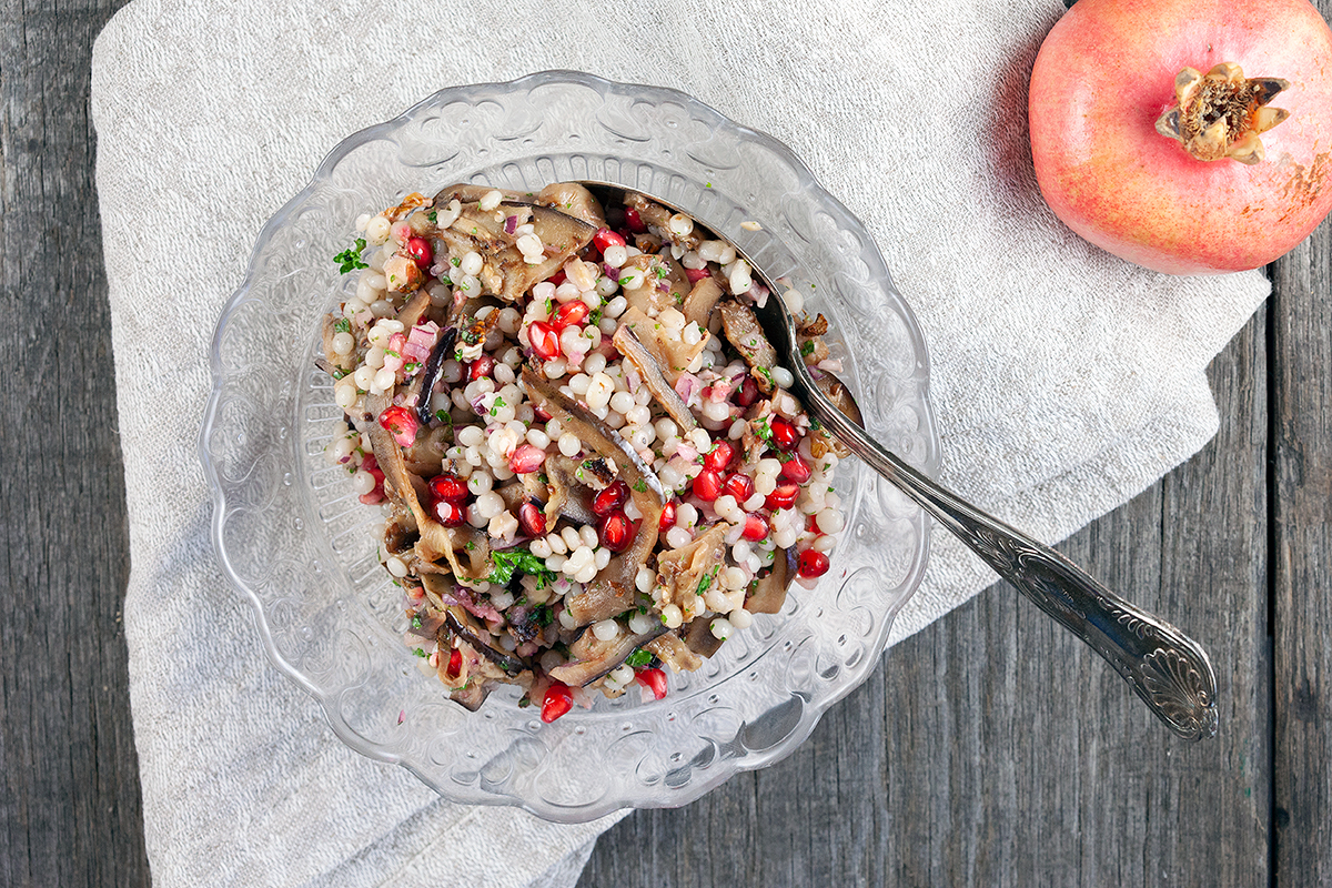 Pomegranate, eggplant and pearl couscous salad