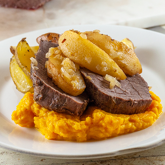 Roast beef with quince and pumpkin square - Roast beef with quince and pumpkin