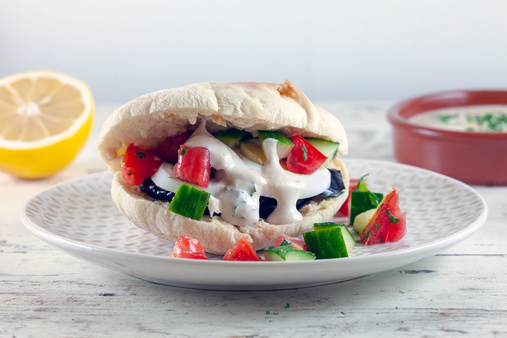 Sabich - pitas with eggplant and egg