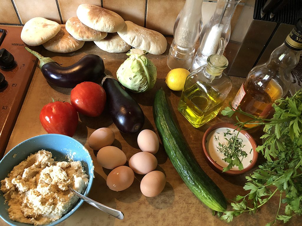 Sabich - pitas with eggplant and egg ingredients