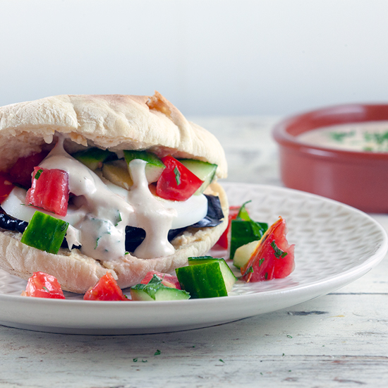 Sabich pitas with eggplant and egg square - Sabich - pitas with eggplant and egg