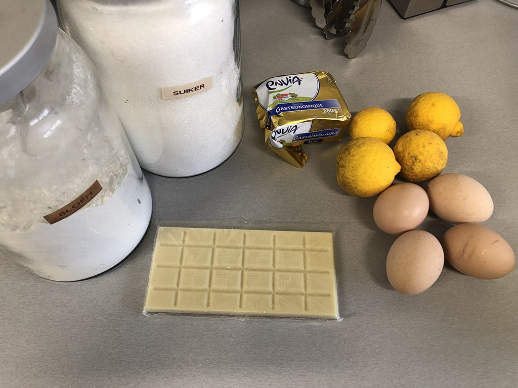 White chocolate and yuzu lava cake ingredients