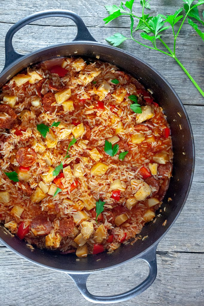 Chorizo and chicken jambalaya