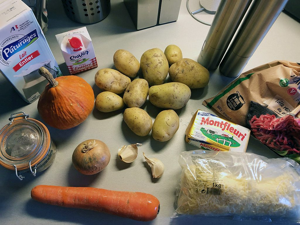 Hachis parmentier with pumpkin ingredients
