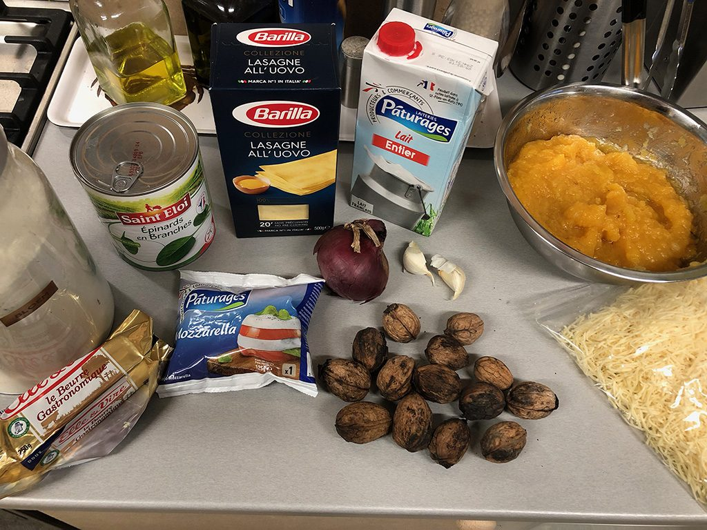Pumpkin and spinach lasagne ingredients