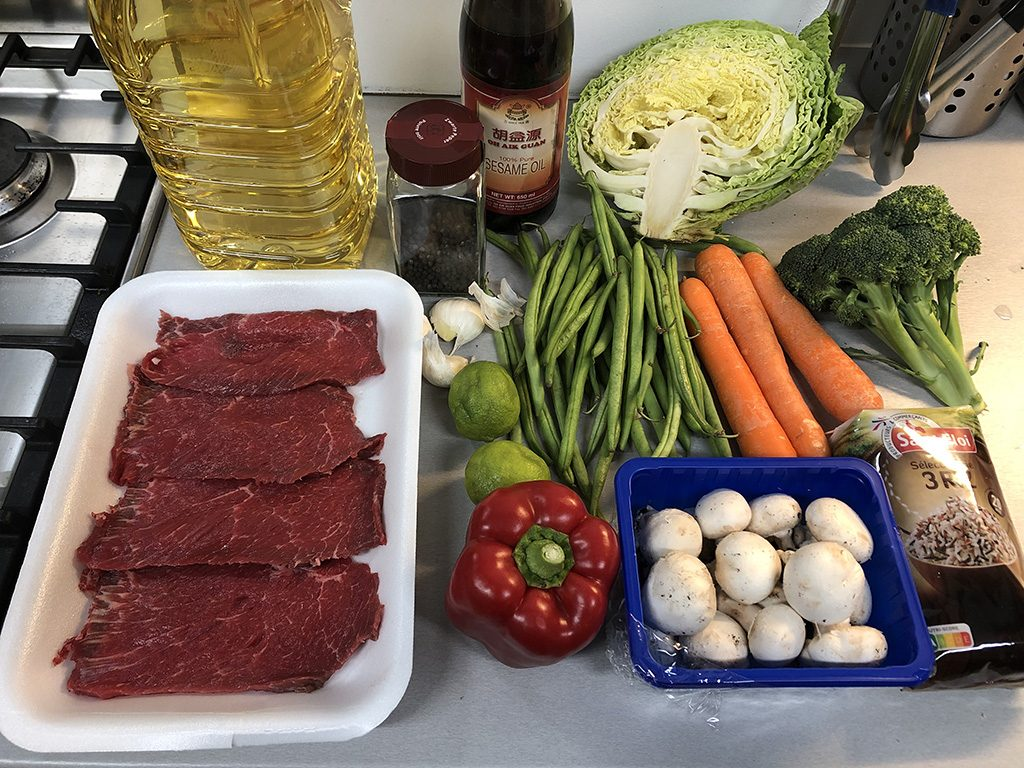 Black pepper and lime beef stir-fry ingredients