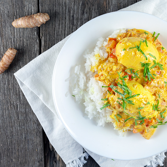 Fresh turmeric egg curry square - Fresh turmeric egg curry