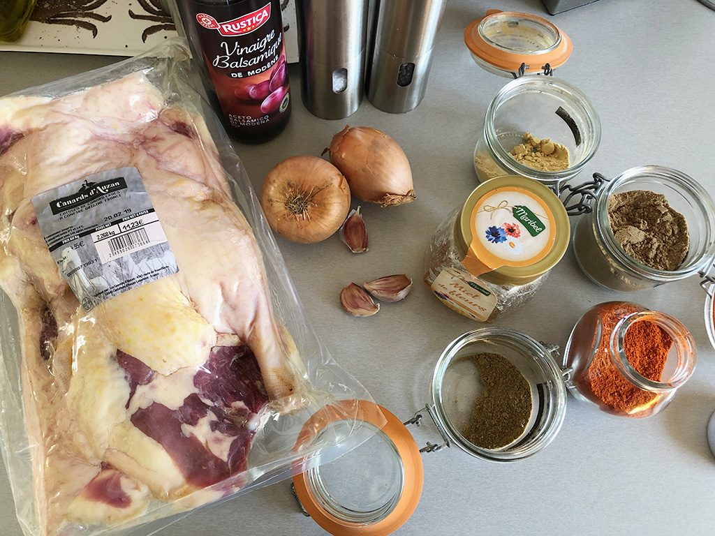 Spiced duck legs ingredients