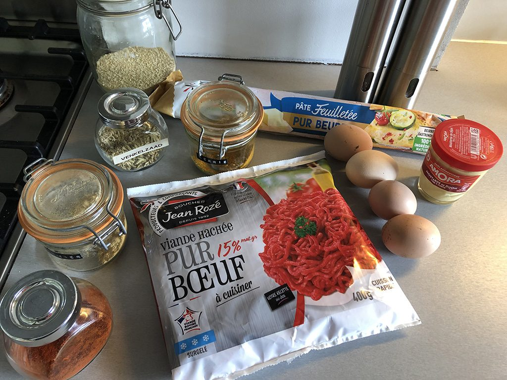 Ground beef and egg Wellington ingredients
