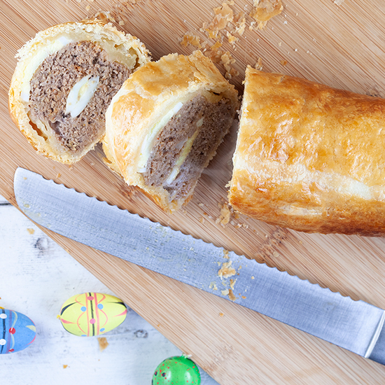 Ground beef and egg Wellington square - Ground beef and egg Wellington