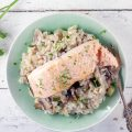Fennel, zucchini and salmon risotto