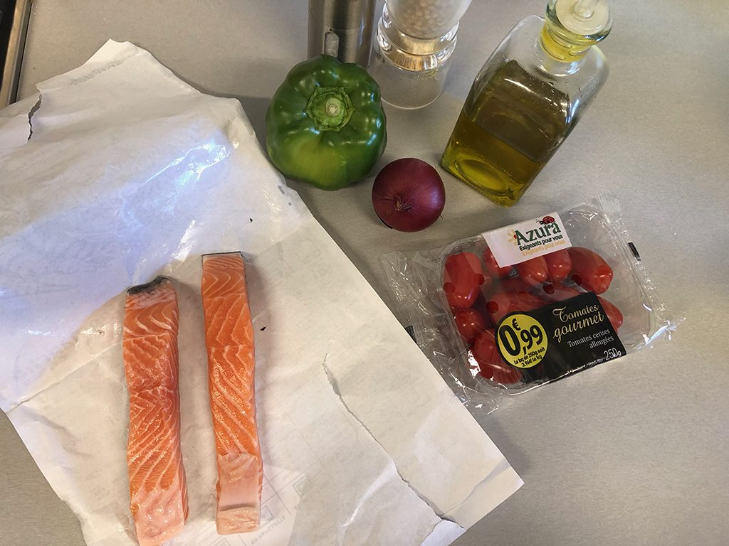 Barbecued salmon kebabs ingredients