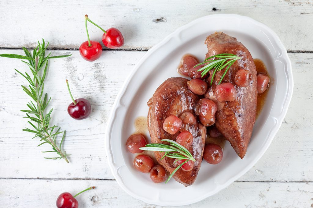 Chicken with cherry port sauce