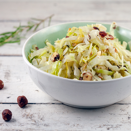 Braised cabbage with hazelnuts square - Braised cabbage with hazelnuts