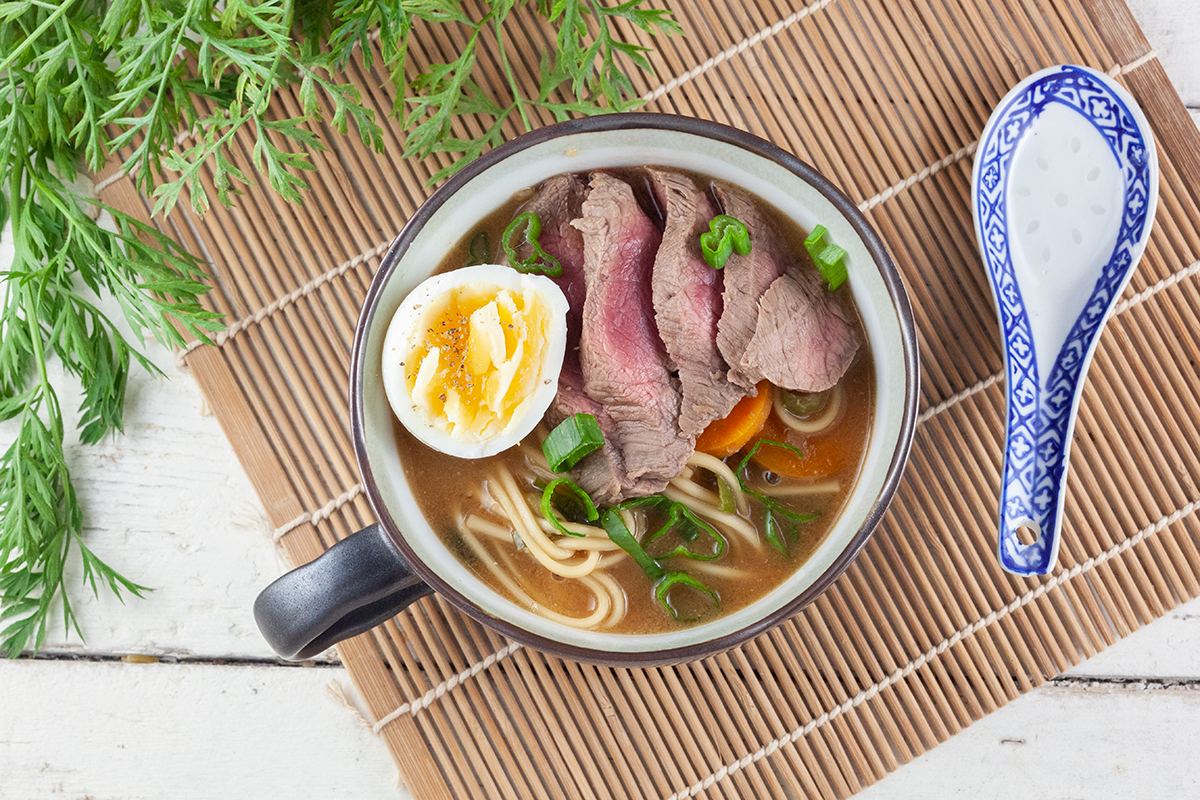 Beef and egg noodle soup