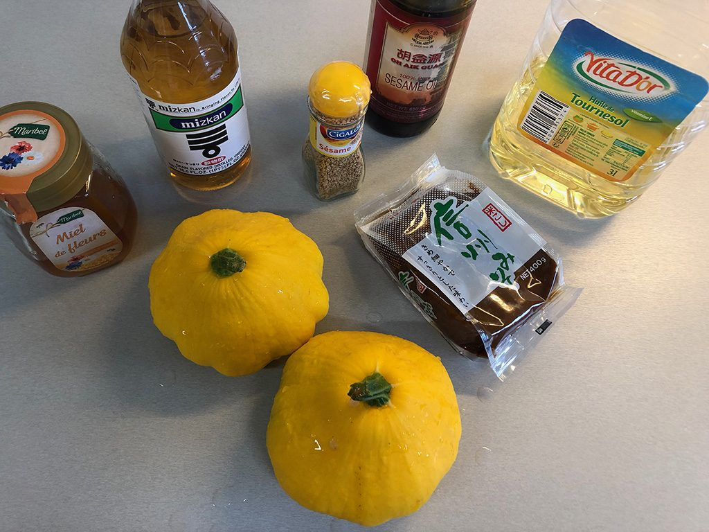 Oven-roasted miso pumpkin ingredients