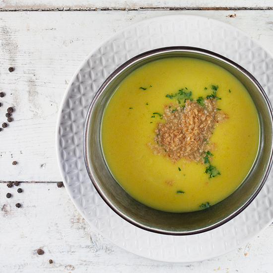 Patty pan squash and coconut soup square - Patty pan squash and coconut soup
