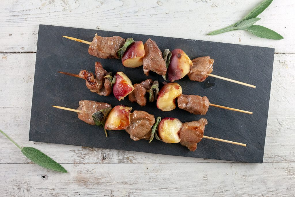 Pork and peach kebabs