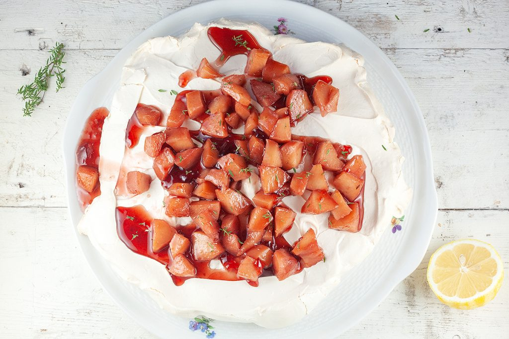 Quince and red port pavlova