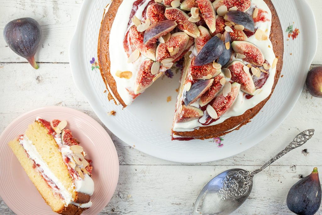 Olive oil cake with mascarpone and figs