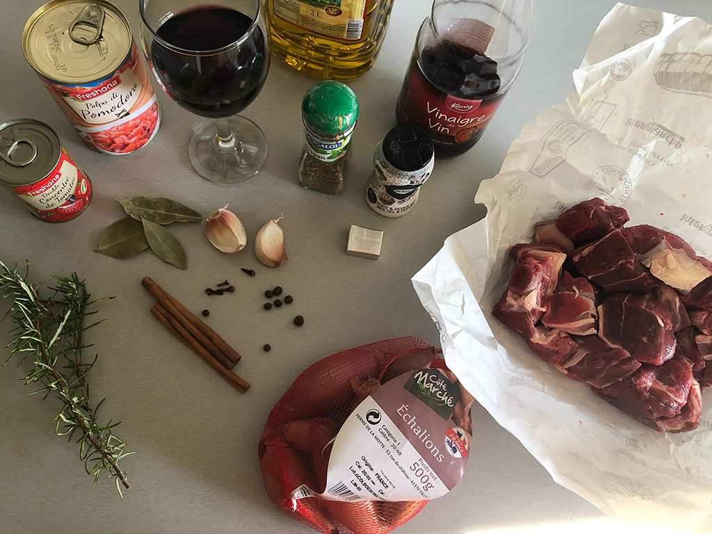 Greek Stifado ingredients