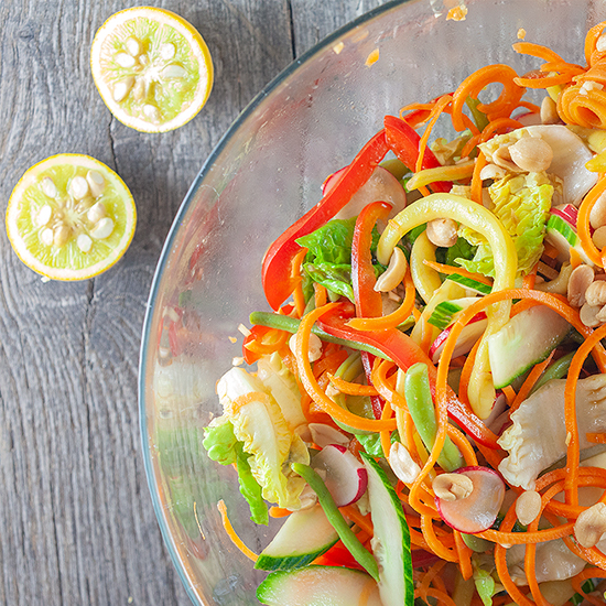 Oriental salad with yuzu dressing