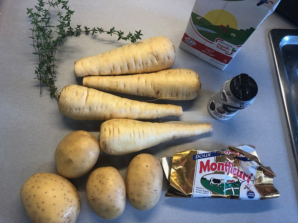Parsnip and potato mash ingredients