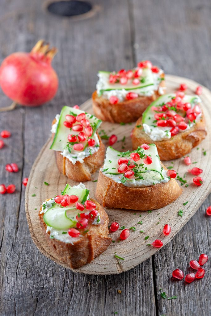 Pomegranate and mascarpone bruschetta 2 683x1024 - Pomegranate and mascarpone bruschetta