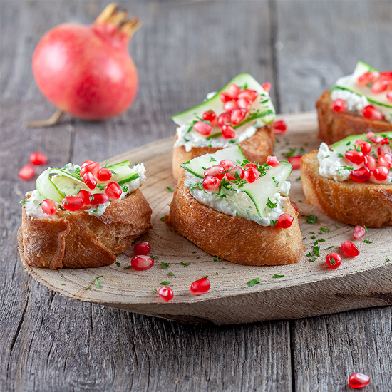 Pomegranate and mascarpone bruschetta square - Pomegranate and mascarpone bruschetta