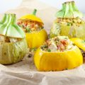 Rice and peas stuffed zucchini 120x120 - Stuffed zucchini with goat cheese