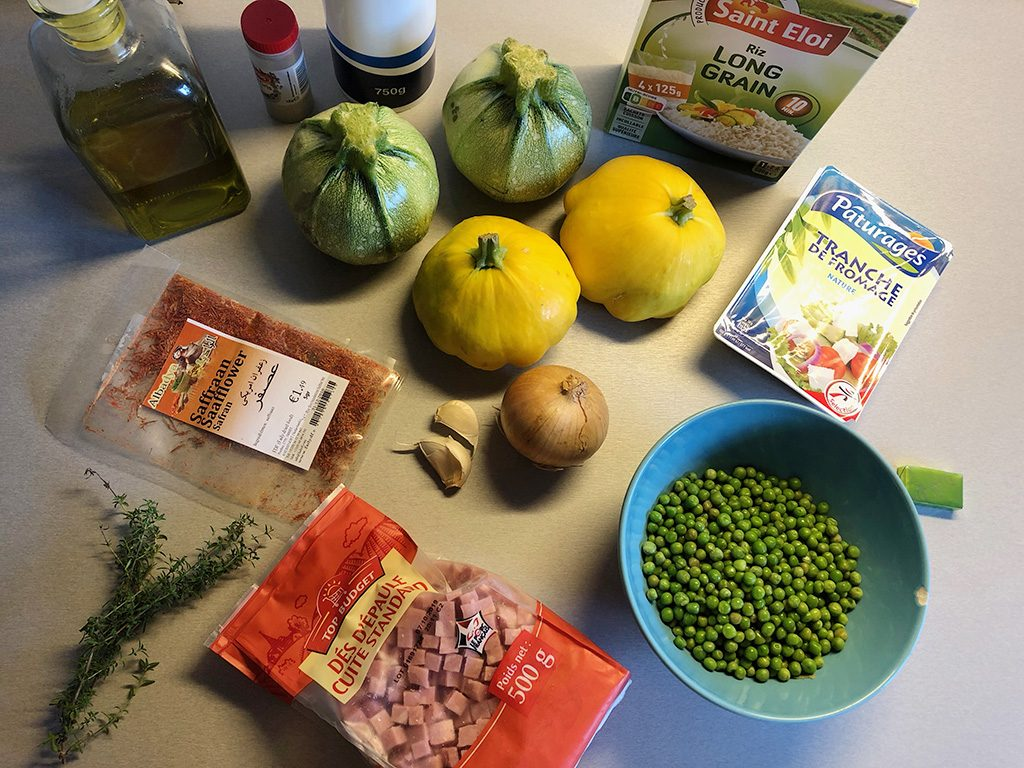 Rice and peas stuffed zucchini ingredients