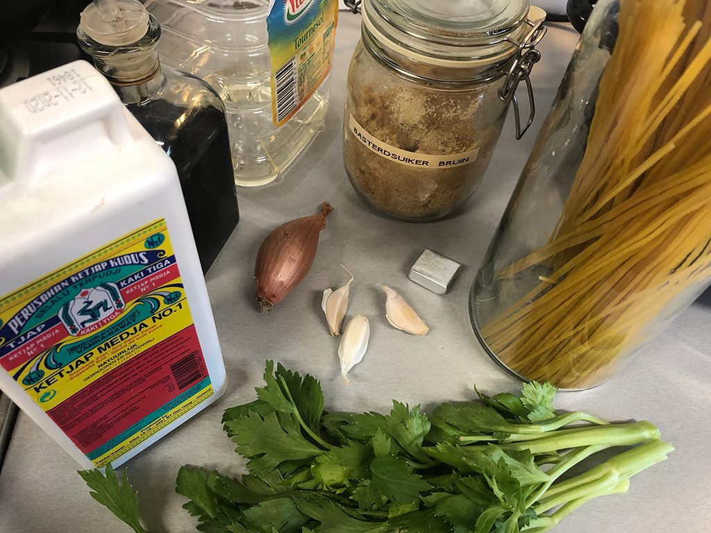 Surinamese bami ingredients