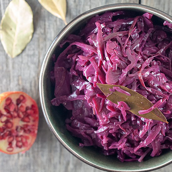 Braised red cabbage with pomegranate juice