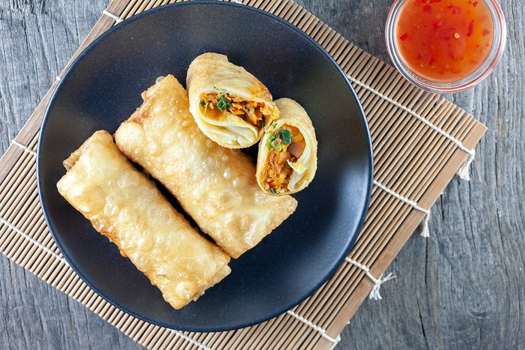 Ham and chicken lumpia