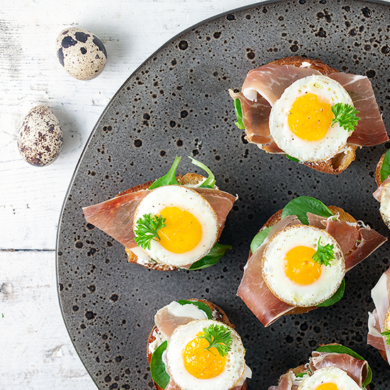 Ham and quail egg bruschetta
